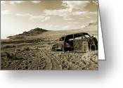 Mountain Texture Greeting Cards - Bullet Car - Pyramid Lake Greeting Card by Jan Faul