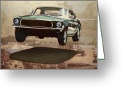 Ryan Greeting Cards - Bullitt - Steve Mc Queen Mustang Greeting Card by Ryan Jones