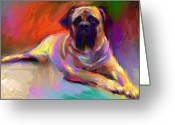 Yellow Dog Greeting Cards - Bullmastiff dog painting Greeting Card by Svetlana Novikova
