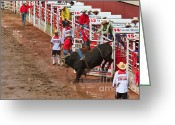 Infield Greeting Cards - Bullriding at the Calgary Stampede Greeting Card by Louise Heusinkveld