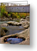Connecticut Greeting Cards - Bulls Bridge - Autumn scene Greeting Card by Thomas Schoeller