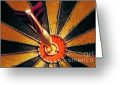 Game Greeting Cards - Bulls eye Greeting Card by John Greim