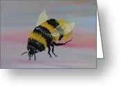 Silver Moonlight Greeting Cards - Bumble Bee Greeting Card by Mark Moore