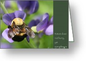 Lao Greeting Cards - Bumble Bee with Zen Quote Greeting Card by Heidi Hermes