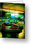 Amusement Parks Greeting Cards - Bumper Cars Greeting Card by Colleen Kammerer