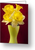 Shaped Greeting Cards - Bunch Of Daffodils Greeting Card by Garry Gay