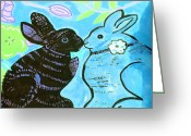 Impressionism Ceramics Greeting Cards - Bunnies In Love Greeting Card by Patricia Lazar