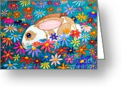 Colorful Drawings Greeting Cards - Bunny and flowers Greeting Card by Nick Gustafson