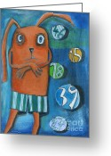 Baby Room Greeting Cards - Bunny Data Greeting Card by Sonja Mengkowski