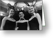 Black Tie Greeting Cards - Bunny Girls Greeting Card by J Wilds