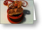 Quilling Greeting Cards - Bunny in a Tea Cup Greeting Card by Julie Hens