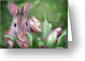 Easter Card Greeting Cards - Bunny In The Tulips Greeting Card by Carol Cavalaris