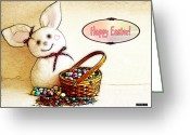 2hivelys Art Greeting Cards - Bunny N Eggs Card Greeting Card by Methune Hively