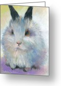 Rabbit Prints Greeting Cards - Bunny Rabbit painting Greeting Card by Svetlana Novikova