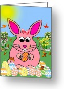 Smudgeart Greeting Cards - Bunny Twitter Greeting Card by Madeline M Allen