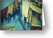 Blue House Greeting Cards - Burano - laundry Greeting Card by Joana Kruse