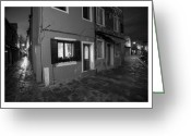 Houses Posters Greeting Cards - Burano II - Italy - Black and White  Greeting Card by Marco Hietberg