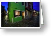 Houses Posters Greeting Cards - Burano II - Italy Greeting Card by Marco Hietberg