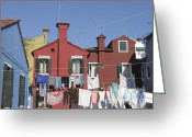 Washing Greeting Cards - Burano. Venice Greeting Card by Bernard Jaubert