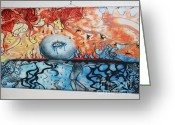 Fire Pastels Greeting Cards - Burden Greeting Card by Kelsey Anderson