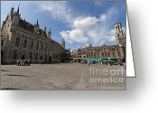 Historic Street Greeting Cards - Burg Square in Bruges Belgium Greeting Card by Louise Heusinkveld