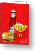 Ronald Greeting Cards - Burger Fries And Ketchup Greeting Card by Wingsdomain Art and Photography