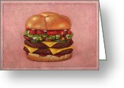 Cheese Greeting Cards - Burger Greeting Card by James W Johnson