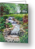 Plants Pastels Greeting Cards - Burgess Water Garden Greeting Card by Lorraine McFarland
