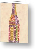 Vineyard Digital Art Greeting Cards - Burgundy Wine Word Bottle Greeting Card by Mitch Frey