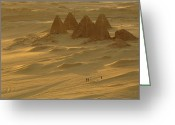 Graves And Tombs Greeting Cards - Burial Pyramids At Gebel Barkal Greeting Card by Kenneth Garrett