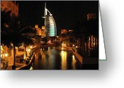 Middle East Greeting Cards - Burj Al Arab by Night Greeting Card by Graham Taylor