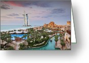 Hotel Greeting Cards - Burj al Arab Hotel and Madinat Jumeirah Resort Greeting Card by Jeremy Woodhouse