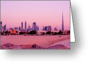 Sand And Sea Greeting Cards - Burj Khalifa previously Burj Dubai At Sunset Greeting Card by Chris Smith