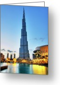 Building Greeting Cards - Burj Khalifa Sunset Greeting Card by Shawn Everhart