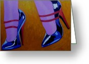 Shoulder Painting Greeting Cards - Burlesque Shoes Greeting Card by John  Nolan