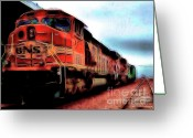 Santa Fe Digital Art Greeting Cards - Burlington Northern Santa Fe BNSF Locomotive Train at the Station 2 Greeting Card by Wingsdomain Art and Photography