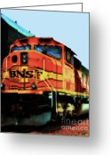 Santa Fe Digital Art Greeting Cards - Burlington Northern Santa Fe BNSF Locomotive Train at the Station Greeting Card by Wingsdomain Art and Photography