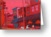 Cities Art Painting Greeting Cards - Burlington VT cafe Greeting Card by Debra Bretton Robinson