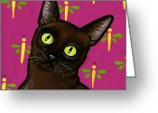 Whiskers Greeting Cards - Burmese Best Greeting Card by Leanne Wilkes