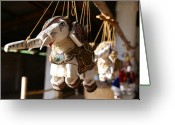 Puppet Greeting Cards - Burmese elephant puppets Greeting Card by Jessica Rose
