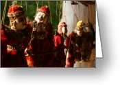 Puppet Greeting Cards - Burmese puppets Greeting Card by Jessica Rose