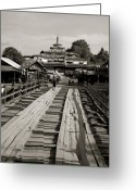 Burma Greeting Cards - Burmese wooden bridge Greeting Card by Jessica Rose