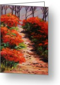 Red Leaves Pastels Greeting Cards - Burning Bush Along the Lane Greeting Card by John  Williams