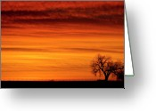 Country Prints Greeting Cards - Burning Country Sky Greeting Card by James Bo Insogna