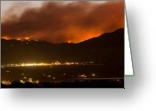 The Lightning Man Greeting Cards - Burning Foothills Above Boulder Fourmile Wildfire Panorama Greeting Card by James Bo Insogna