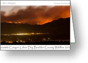 Clouds Posters Greeting Cards - Burning Foothills Above Boulder Fourmile Wildfire Panorama Poster Greeting Card by James Bo Insogna