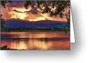 Sunset Posters Greeting Cards - Burning Lake   Greeting Card by James Bo Insogna