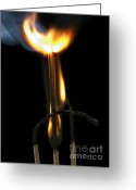 Ignite Greeting Cards - Burning Match Greeting Card by Michal Boubin