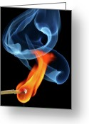 Ignite Greeting Cards - Burning matchstick Greeting Card by Pics For Merch