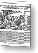 1555 Greeting Cards - Burning Of Witches, 1555 Greeting Card by Granger